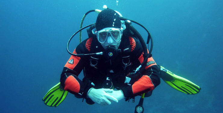 Scuba Diving Pizza Delivery Man